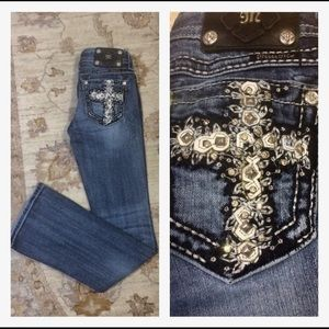 Miss Me bootcut embroidered cross denim jeans 26
